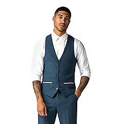 Marc Darcy - Dion blue herringbone check waistcoat db4dfc515