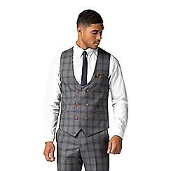 Marc Darcy - Logan grey with blue overcheck waistcoat