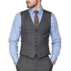 Hammond & Co. by Patrick Grant - Grey With Caramel Overcheck Tailored Fit Waistcoat
