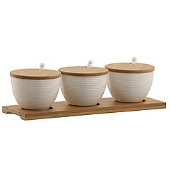 Belleek Living - Ripple three bowl set with tray