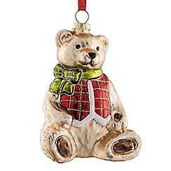 Belleek Living - Teddy bear glass Christmas tree decoration