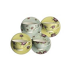 Aynsley China - Set of 4 Archive Rose Teacups & Saucers