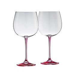 Galway Living - Clarity pair of crystal gin glasses - pink stem