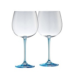Galway Living - Clarity pair of crystal gin glasses - blue stem