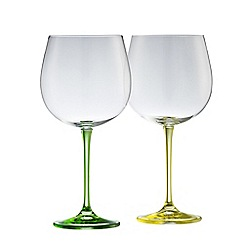 Galway Living - Clarity pair of crystal gin glasses - lemon lime stems