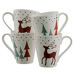 Aynsley China - Christmas Reindeer Mugs Set of 4