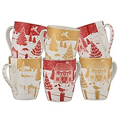 Aynsley China Christmas In The Country Set Of 6 Mugs A Gift Box