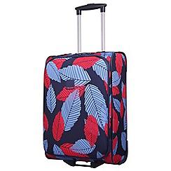 Tripp - Denim blue poppy 'Leaf ' cabin 2-wheel suitcase