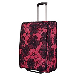 Tripp - Rose pink 'Outline Pansy' 2 wheel medium suitcase