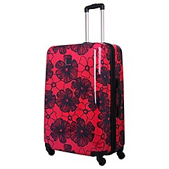 Tripp - Rose /navy 'Pansy Hard' 4 wheel large suitcase