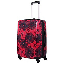Tripp - Rose/ navy 'Pansy Hard' 4 wheel medium suitcase