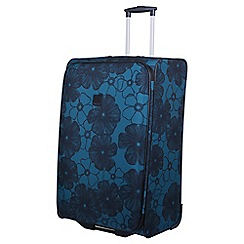 Tripp - Ultramarine and black 'Outline Pansy' 2 wheel large suitcase