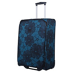 Tripp - Ultramarine and black 'Outline Pansy' 2 wheel medium suitcase