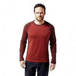 Craghoppers - Red 'Loki' long sleeved two tone t-shirt