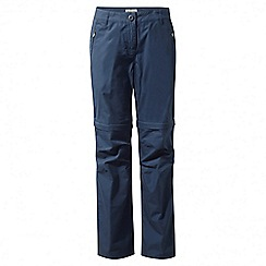 Craghoppers - Soft navy C65 convertible trousers - long length