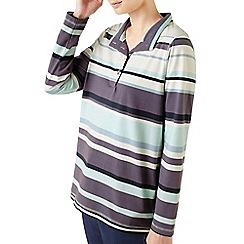 Dash - Engineered stripe funnel neck top