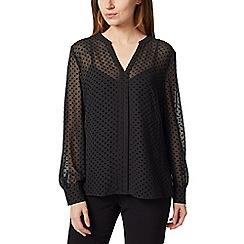 Precis - Petite flocked spot blouse