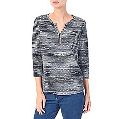 Dash - Painted stripe notch neck top