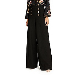 Phase Eight - Black beatrix button wide leg trousers