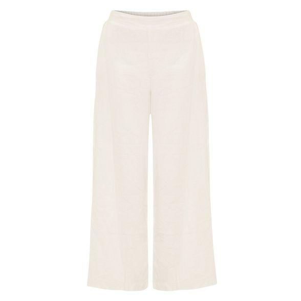 Eight trousers Phase luna leg White crop linen wide 1F7qAdw