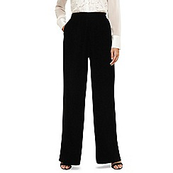 Phase Eight - Black tabby velvet wide leg trousers