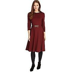 Phase Eight - Dark red belted ponte swing dress