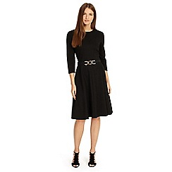 Phase Eight - Black belted ponte swing dress