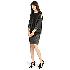 Phase Eight - Black 'Liane' shimmer cold shoulder dress