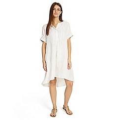 Phase Eight - Cream gabriella stripe linen shirt dress