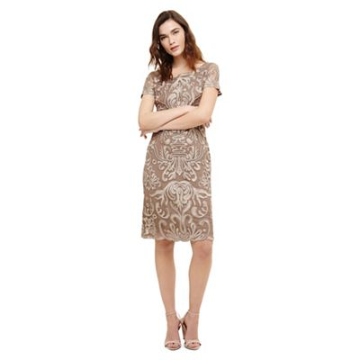 Phase Eight   Brown Talia Embroidered Dress by Phase Eight