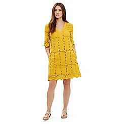 Phase Eight - Yellow lilith cotton broderie dress