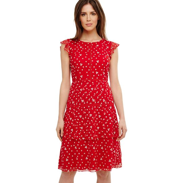 bea embroidered daisy dress Eight Phase tiered Red pzBq0O8w8