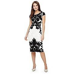 Phase Eight - Ivory and Black quentin tapework dress