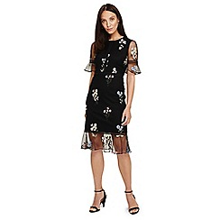 Phase Eight - Black ditsy embroidered dress