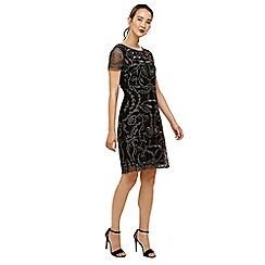 Phase Eight - Black and gunmetal alannah embroidered mesh dress