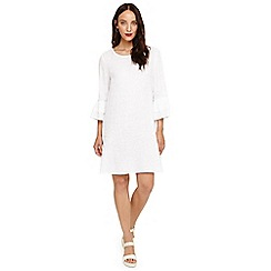 Phase Eight - White jen linen frill sleeve dress