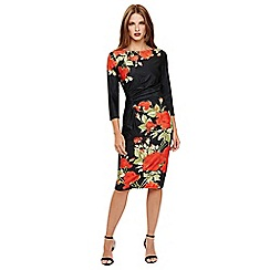 Phase Eight - Black and Scarlet grace rose dress