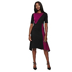 Phase Eight - Black and magenta colour block court dress