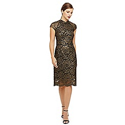 Phase Eight - Gold janie metallic corded lace dress