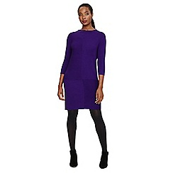 Phase Eight - Purple francesca mixed rib knit dress