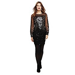 Phase Eight - Black matilda balloon sleeves sequin dress
