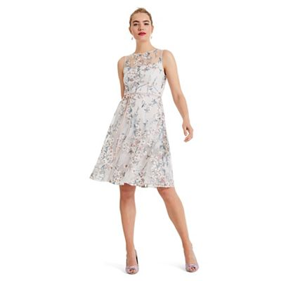 Phase Eight   Cream Maddy Fit And Flare Embroidered Dress by Phase Eight