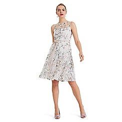 Phase Eight - Cream Maddy fit and flare embroidered dress