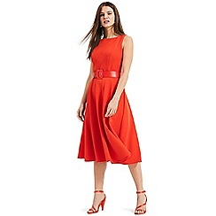 Phase Eight - Vermilion red Shona belted fit & flare dress