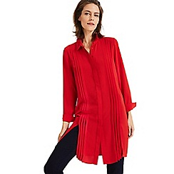 Phase Eight - Red dolunay pleat front shirt dress