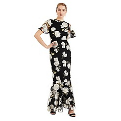 Phase Eight - Black Christine Embroidered Flower Dress