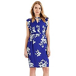 Phase Eight - Blue Olive Floral Frill Sleeve Dress