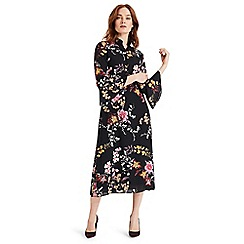 Phase Eight - Black Claude floral midi shirt dress