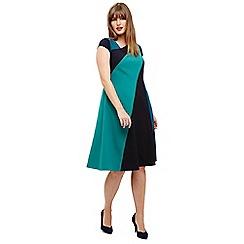 Studio 8 - Sizes 12-26 Blue and Green michelle colour block dress