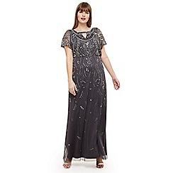 Studio 8 - Sizes 12-26 Grey desiree beaded maxi dress